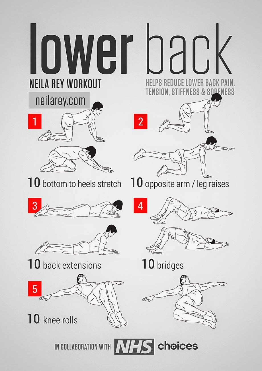lower back workout helps reduce lower back pain, tension