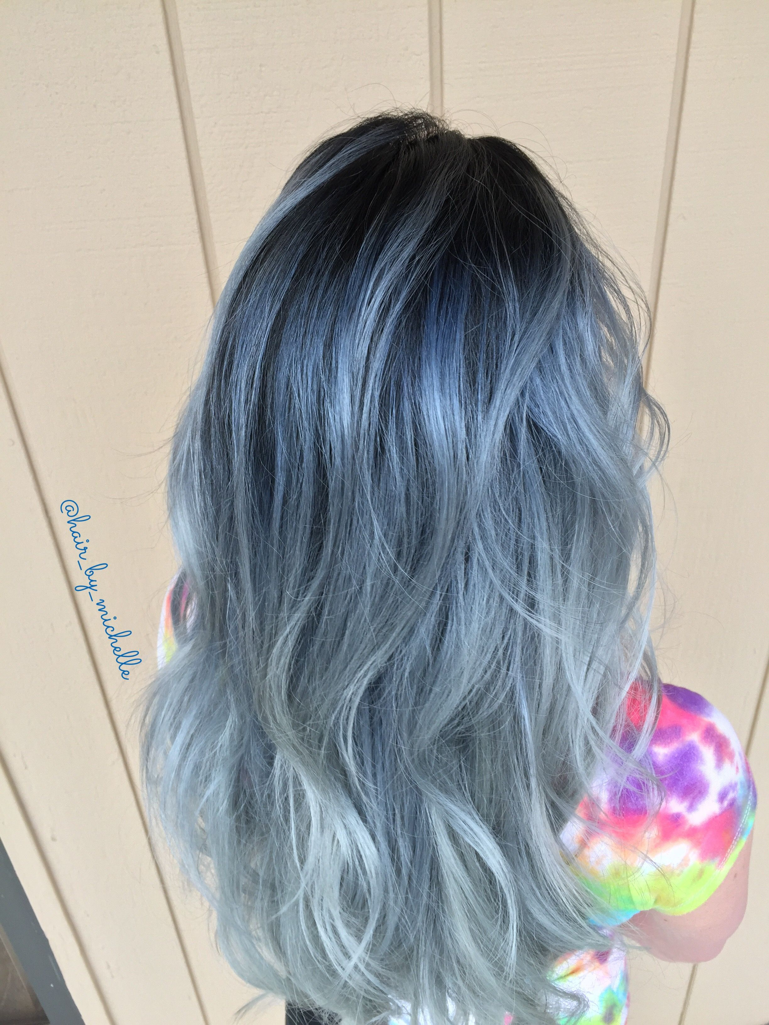 Denim Hair Blue And Silver Balayage Denim Hair Silver Blue Hair Hair Color Blue