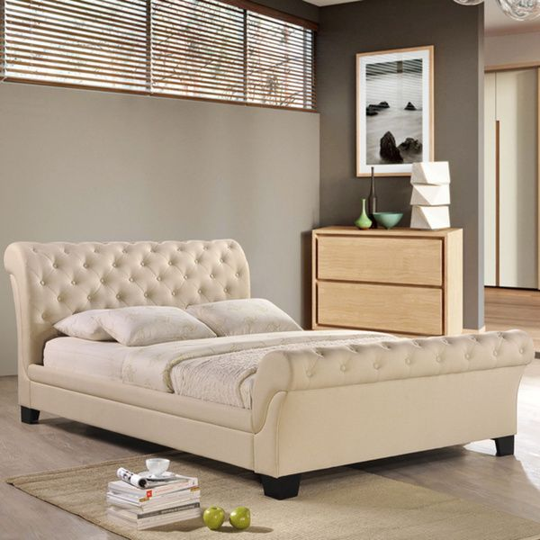 kate fabric bed frame in beige white with ventilation keeps the bedrooms cooler without cooling tufted bed frame for elegant and glamorous bedroom bedroom