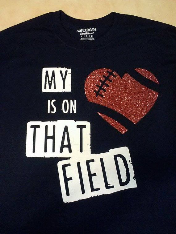 98371582a44 My heart is on that Field Football Mom by JulisJoysEmbroidery. Find this  Pin and more on Sports shirts ...