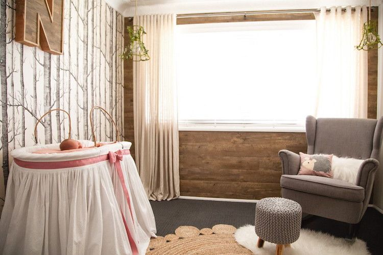 Kinderzimmer wandgestaltung wald  Wald-Kinderzimmer mit moderner Wandgestaltung mit Birkenmotiv ...