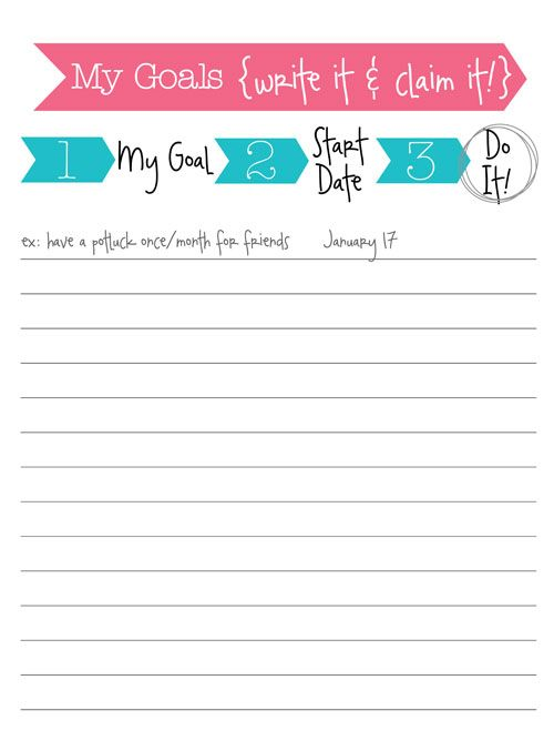 Free printable goal sheet free printables Pinterest Free - potluck sign up sheet template