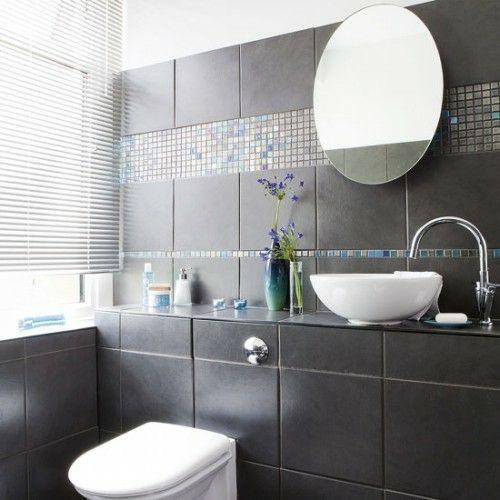 33 Dunkle Badezimmer Design Ideen   Dunkle Badezimmer Design Ideen  Dunkelgraue Fliesen Modern Bathroom Minimalistic Look