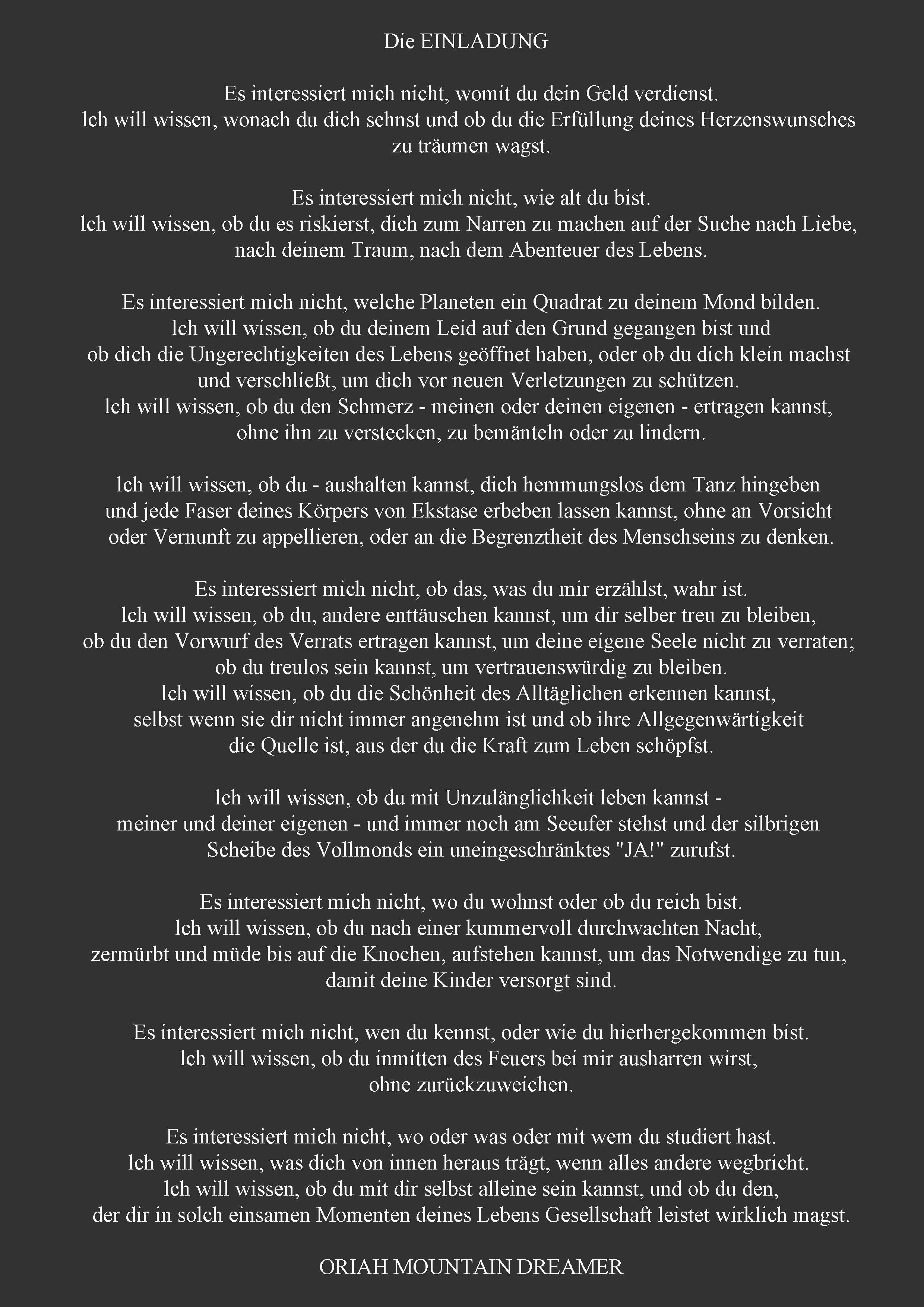 die einladung - oriah mountain dreamer | words (german) | pinterest, Einladungen