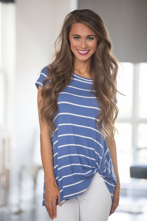 Out For The Day Striped Blouse Blue - The Pink Lily