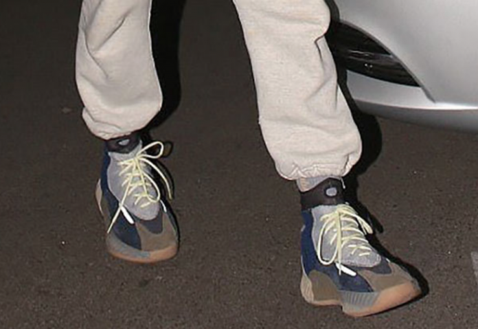 2cf569e9b0d0f A New adidas Yeezy High Top Sneaker Spotted On The Feet Of Kanye West