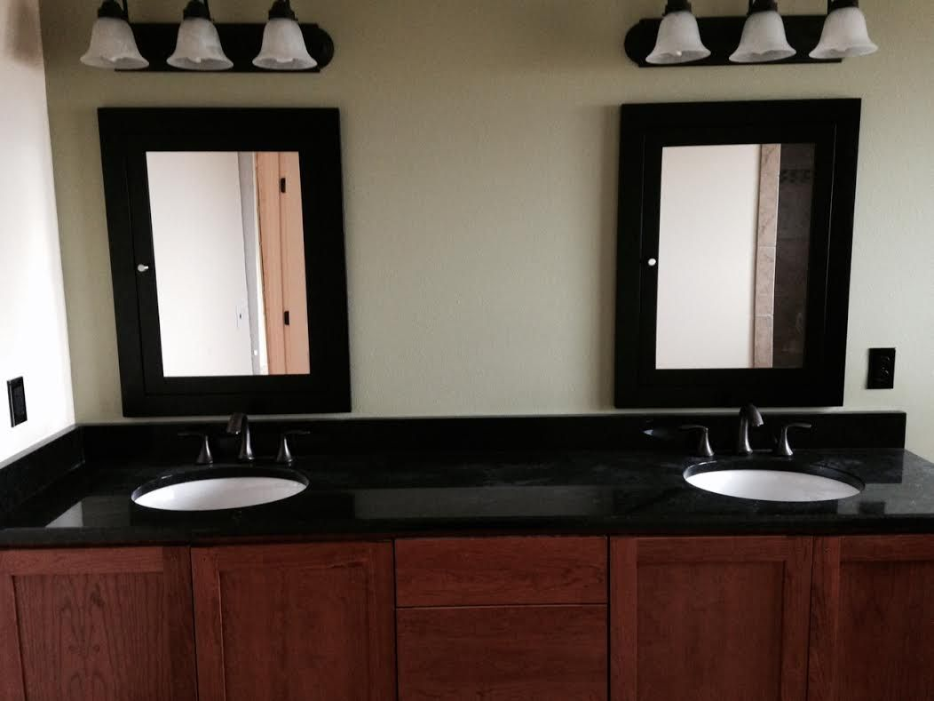 gorgeous double sinks with framed vanity mirrors to add on custom bathroom vanity mirrors id=60559