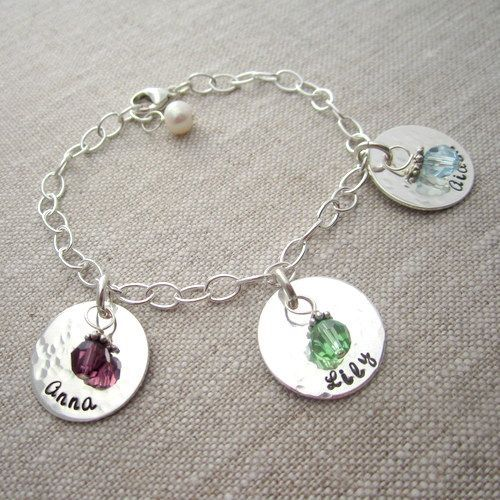 Personalized Charm Bracelet For Moms With Birthstones