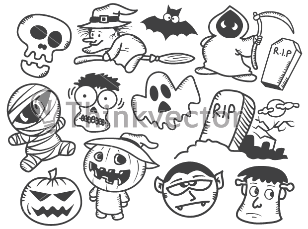 Halloween Cartoon Doodles Think Vector Available For Download On