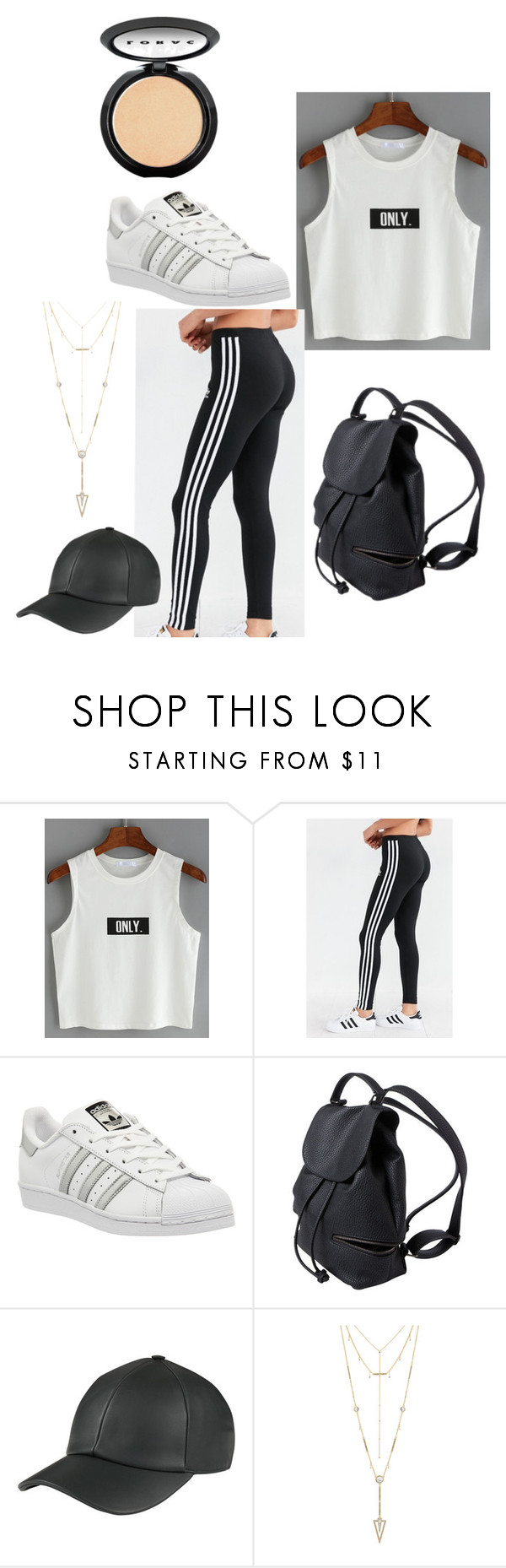 """""""."""" by laura-lorena-forever ❤ liked on Polyvore featuring adidas, House of Harlow 1960 and LORAC"""