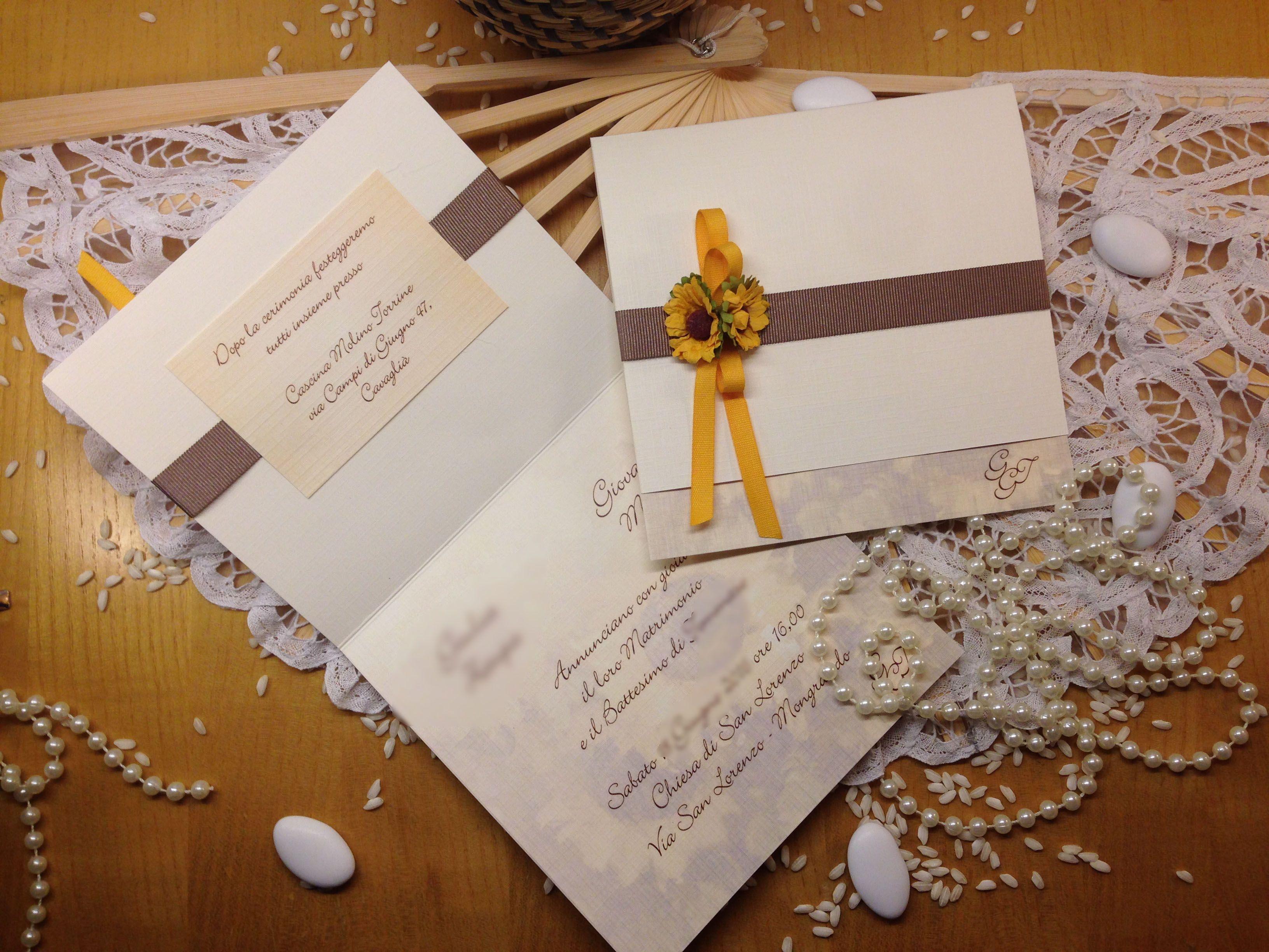 Inviti Matrimonio Girasoli : Partecipazione nozze girasoli rustica u inviti a nozze