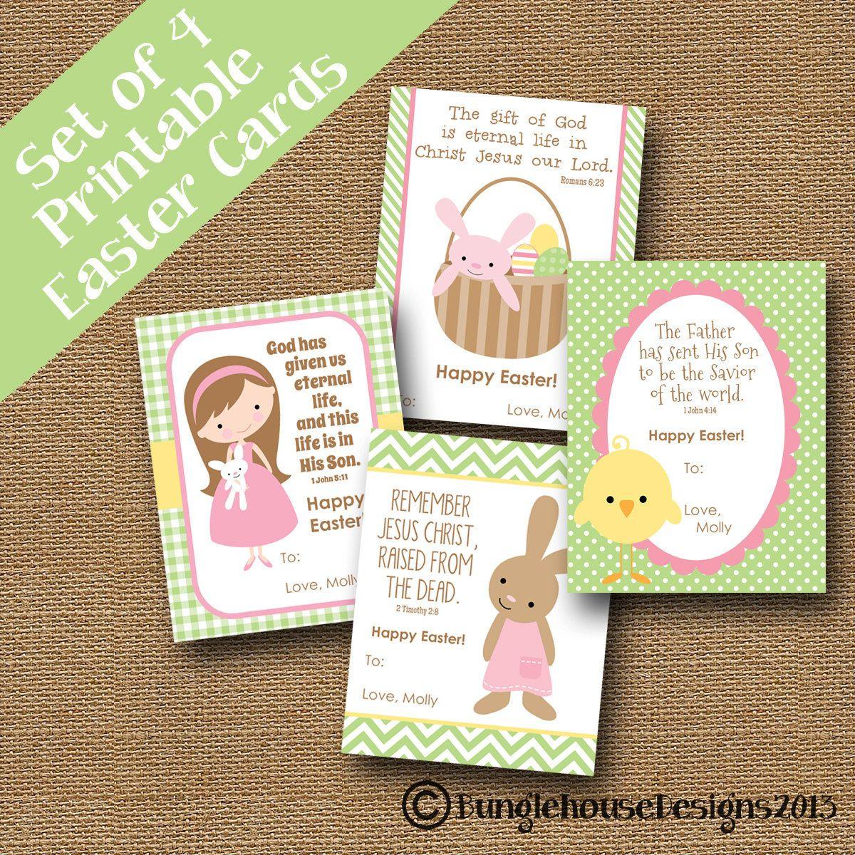 Set Of 4 Printable Childrens Easter Cards Diy Printable