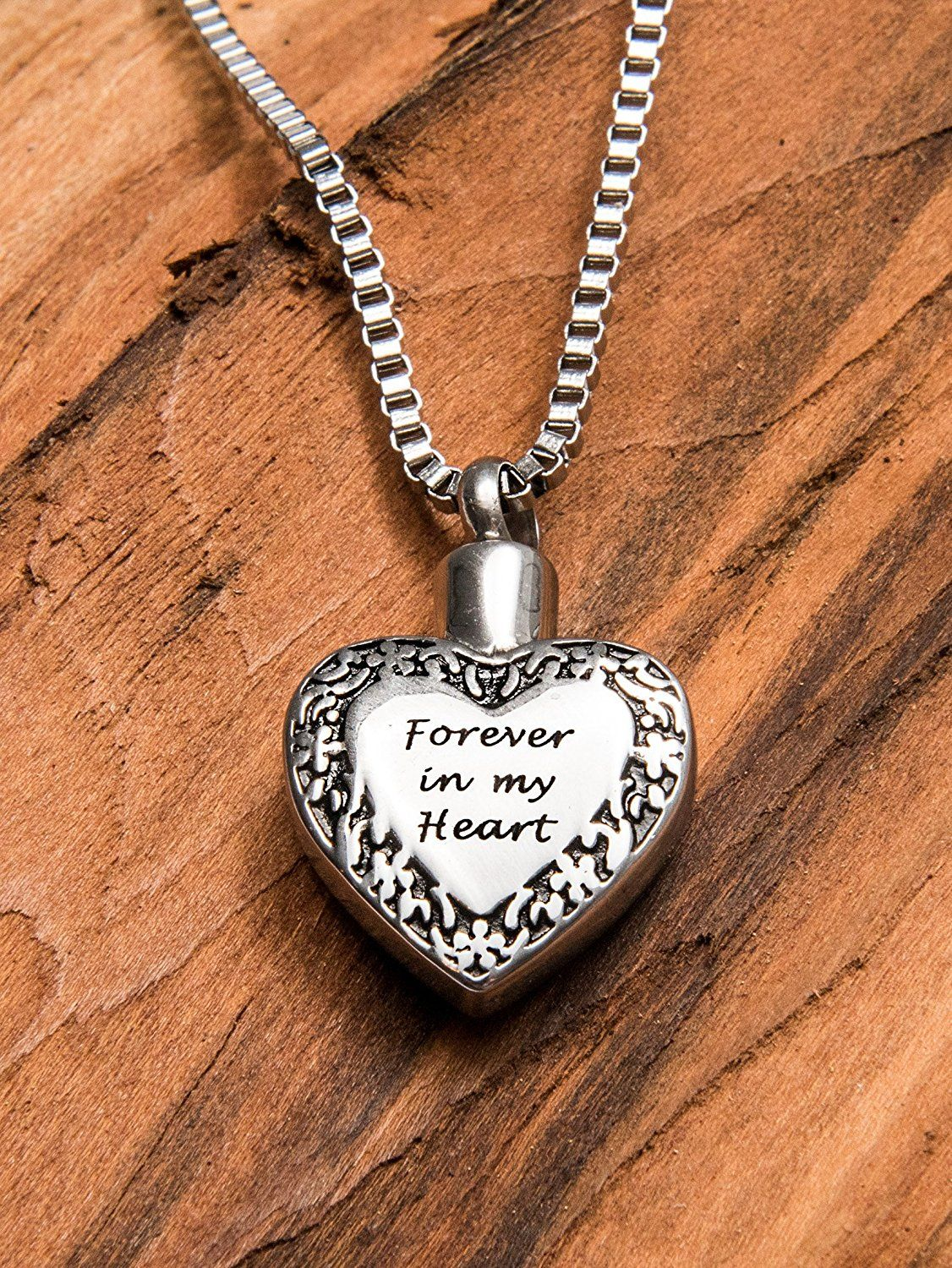 """Etched with """"Forever in my heart"""" this cremation pendant"""