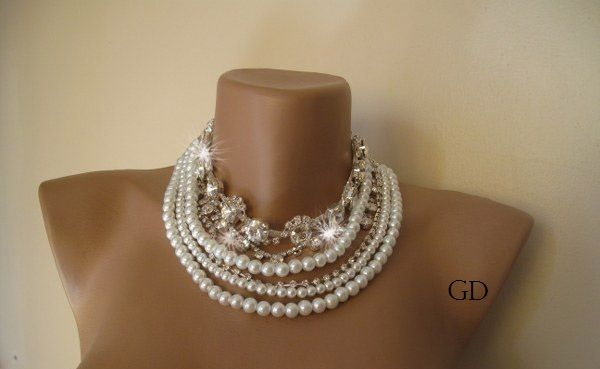 Chunky layered Wedding white glass pearl necklace