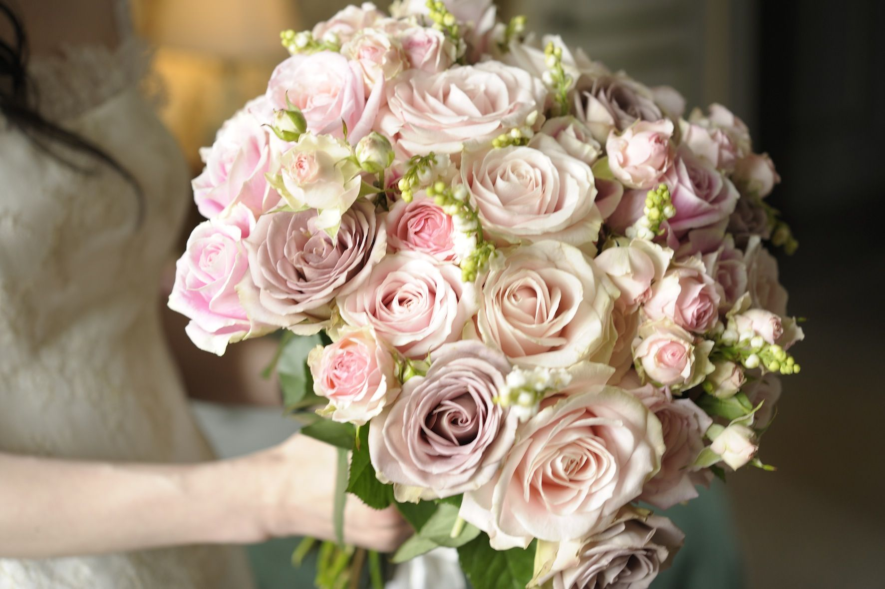 Dreamy Bridal Bouquet Showcasing White Lily Of The Valley Shell Pink Roses Lavender Vintage