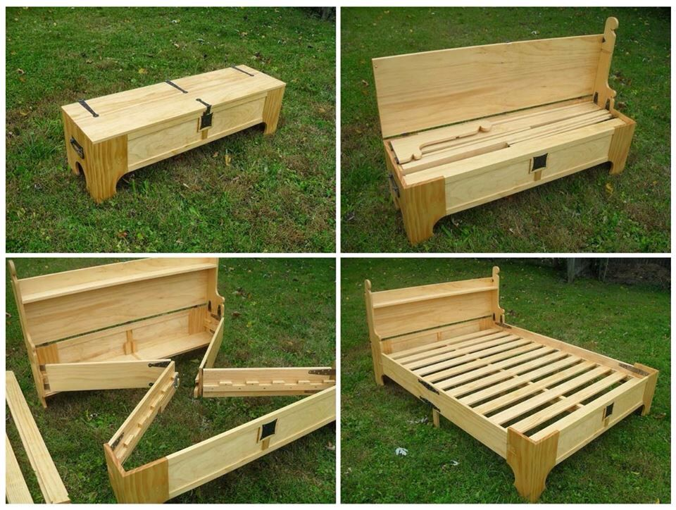 Fold out bed Diy bench, Woodworking projects, Box bed