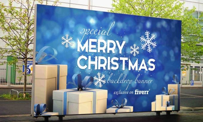 design christmas backdrop banner for your event stage by rijallblues