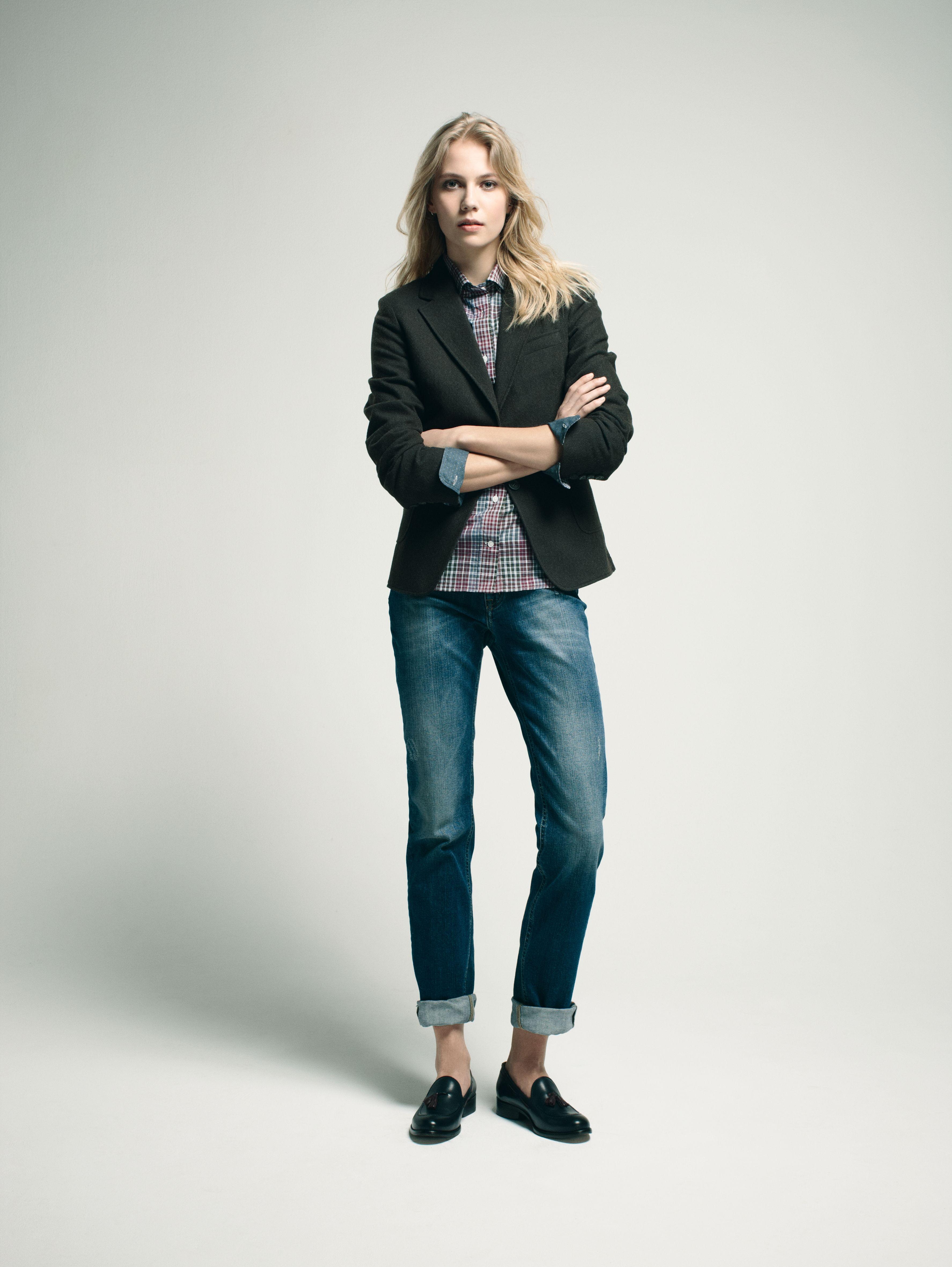 eden park look femme woman veste en coton et laine chemise carreaux en coton jean 5