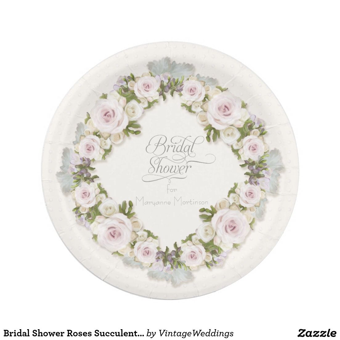 Bridal Shower Roses Succulent Leaves w Polka Dots Paper Plate ...