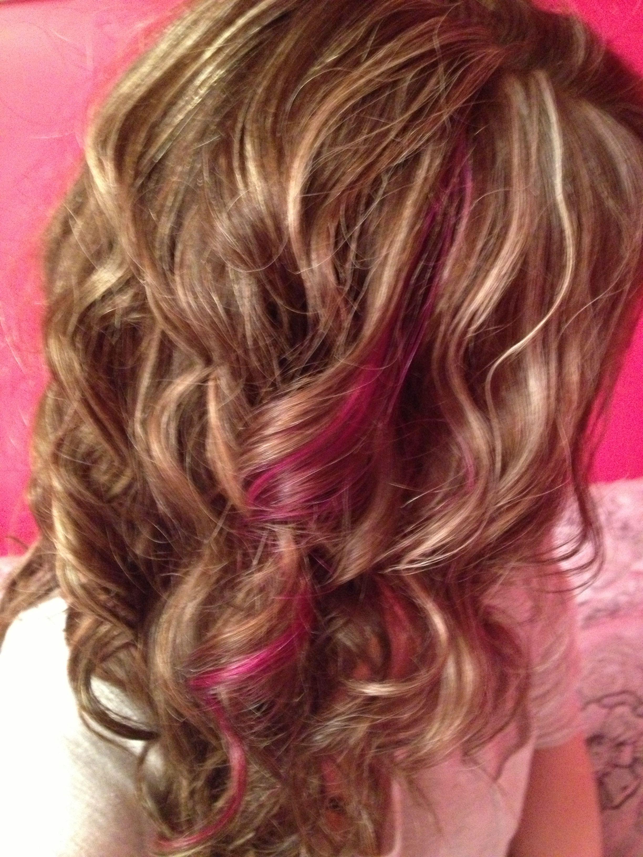 Pink Peekaboo Curls Highlights Hair On The Go 705 716 3343 Hair Highlights Brown Hair Colors Blonde Hair With Highlights