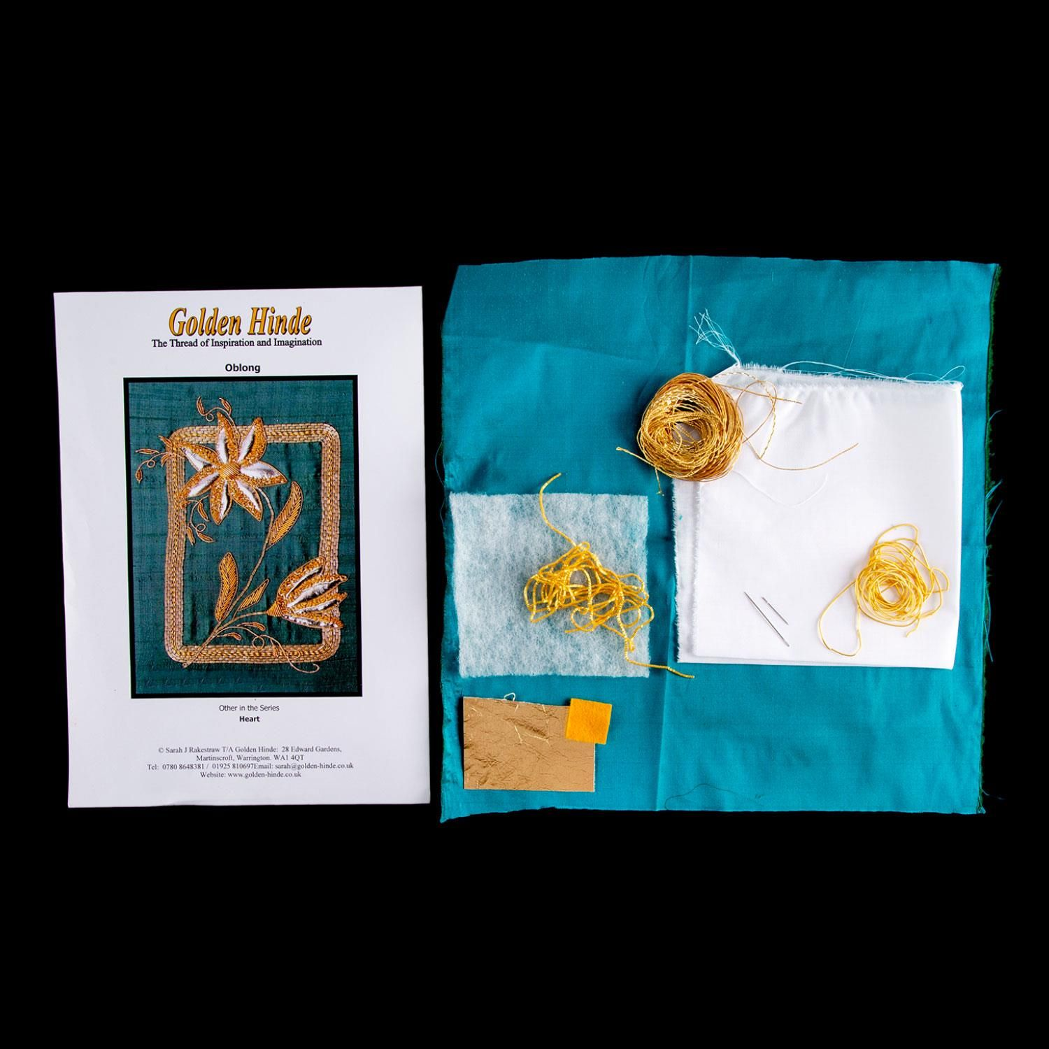 Golden Hinde Goldwork Oblong Goldwork Embroidery Kit  Product Contents- x1 Golden Hinde Goldwork Oblong Goldwork Embroidery Kit  Golden Hinde specialise in Goldwork Embroidery. We produce Quality English Goldwork Embroidery kits and sell the goldwork wires and goldwork threads and all your sundry goldwork embroidery requirements to make your own designs come alive.  Features and Benefits:  All patterns are designed by us and are exclusive to Golden Hinde. All kits are packed lovingly by hand by