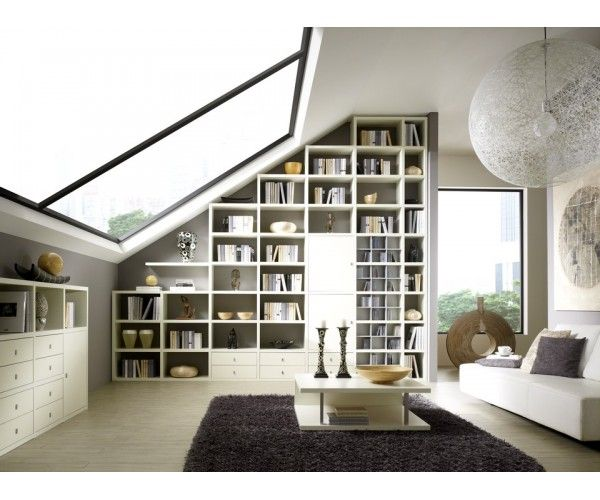 Biblioth que en sous pente meuble biblioth que combles amenagement comble et meuble - Meubles combles ...