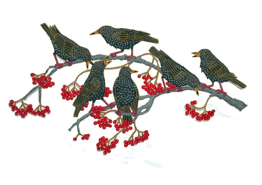 Starlings and Mountain Ash by Janet Browne Textiles - GALLERY