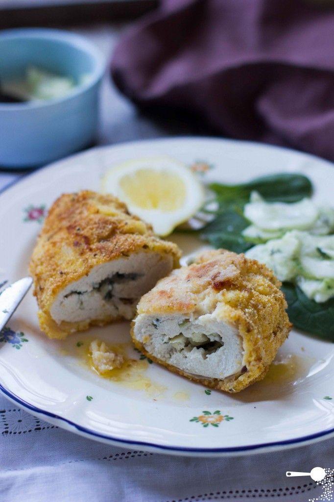 Oven Baked Chicken Kievs With Cucumber Salad Recipe Cucumber