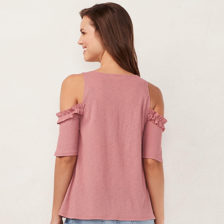 8314fb9cf860c1 Petite LC Lauren Conrad Ruffle Cold-Shoulder Top #Lauren, #Conrad, #Petite,  #LC