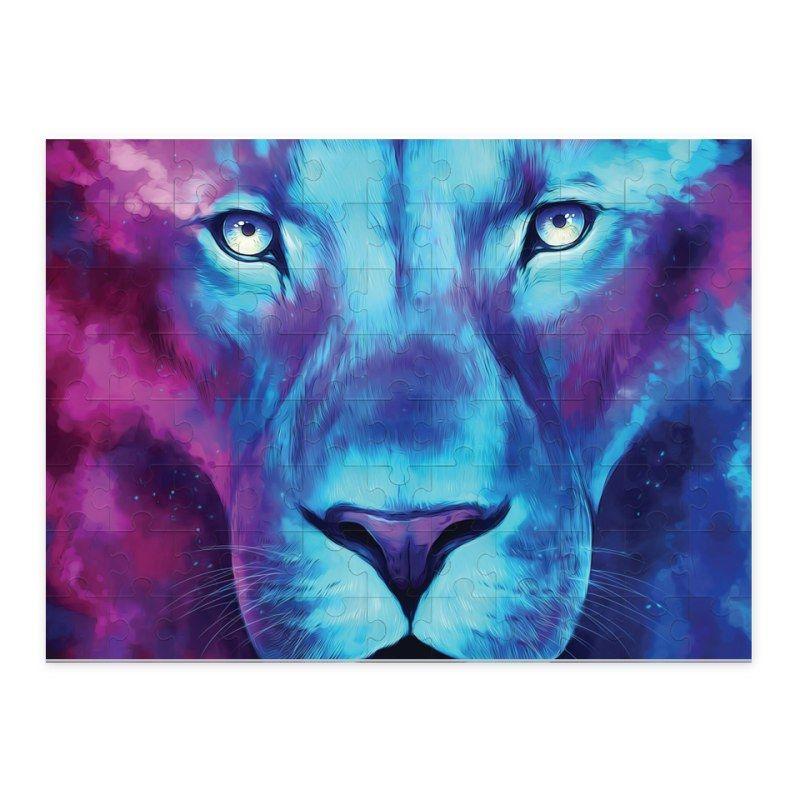 Blue Lion Face Art Iphone Case Poster Samsung Galaxy Case Canvas Puzzle Rectangular Square Pillows Towel Tote Bag Lion Painting Lion Wallpaper Lion Artwork