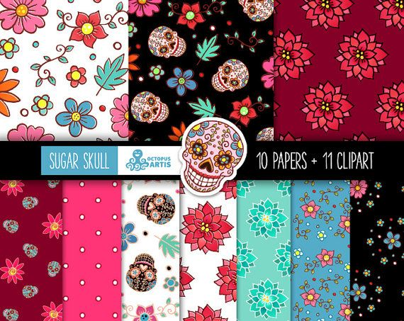 Mexican Tribal Skulls Scrapbooking Floral Day Of The Dead Flowers