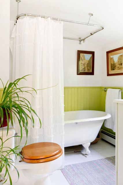 Clawfoot Tub Shower Curtain Rod Bathroom Victorian With Bright Green Beadboard Wainscoting Ceiling Mounted