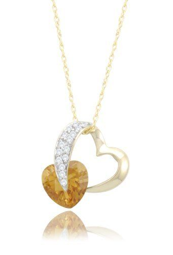10k Yellow Gold Heart Citrine Diamond Pendant Necklace 1 10 Cttw I J Co 20th Wedding Anniversary Gifts 8th Wedding Anniversary Gift Anniversary Ideas For Her