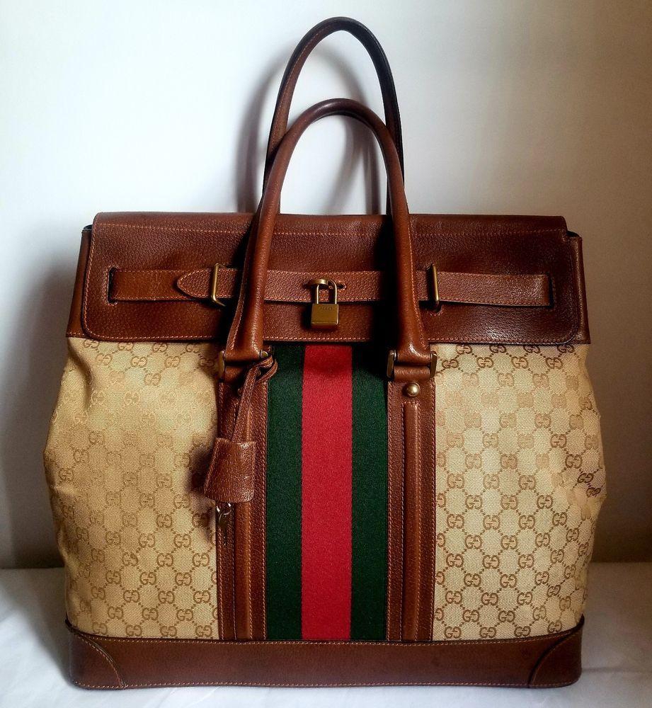 Gucci Bucket Monogram Vintage Bag Brown Bags Designer Handbags