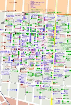 Map of shopping in Soho, NYC. This could potentially be very