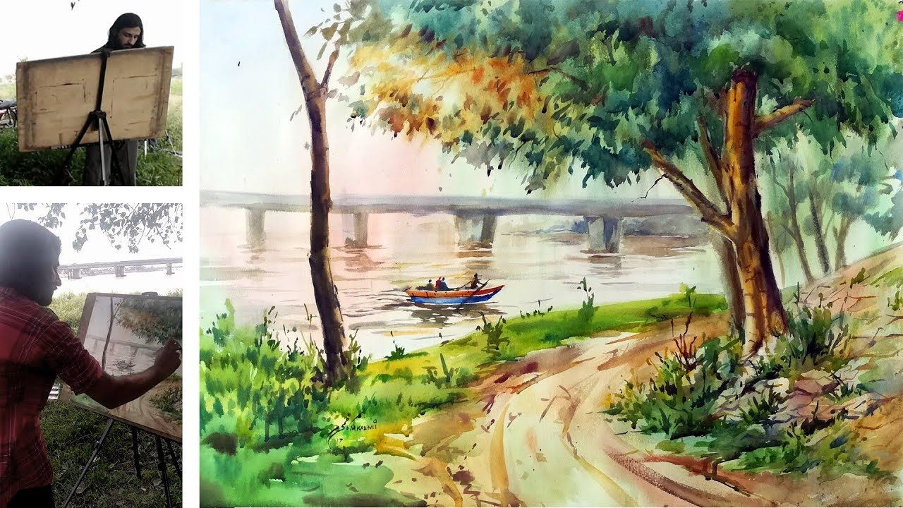 How To Paint River Scape In Watercolour Watercolor Tutorial For