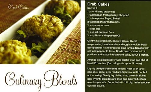 Use Bayou Seasoning instead of Old Bay and you will have a much healthier but just as tasteful Crab Cakes.