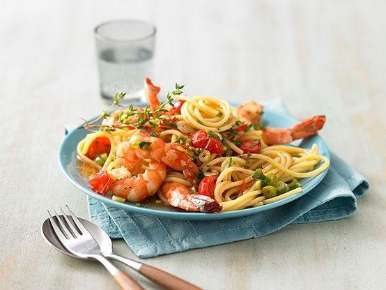 Würzige Spaghetti mit Kirschtomaten und Garnelen