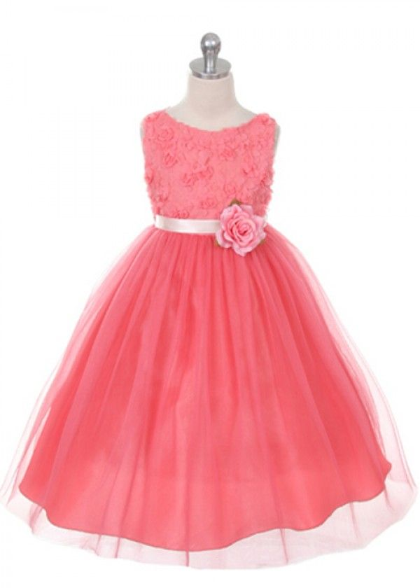 Coral Lovely Floral Embroidery Flower Girl Dress | Bridesmaids ...