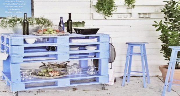 Bar de jardin et desserte à faire en palette bois Pinterest