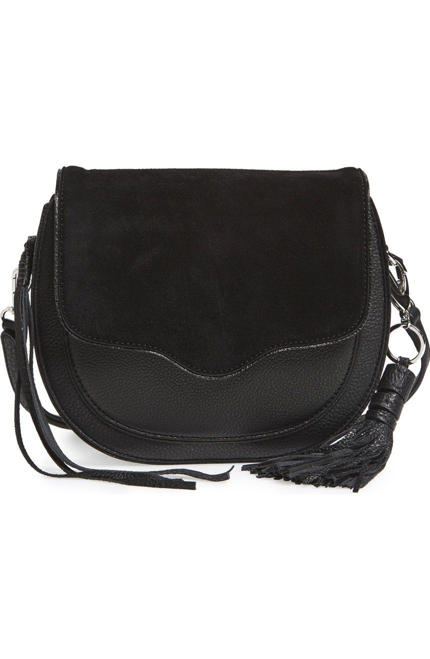 Must Have This Rebecca Minkoff Crossbody Bag To The Collection Black Leather And Suede Combo Accompanied By Flirty Fringe Tassel Make