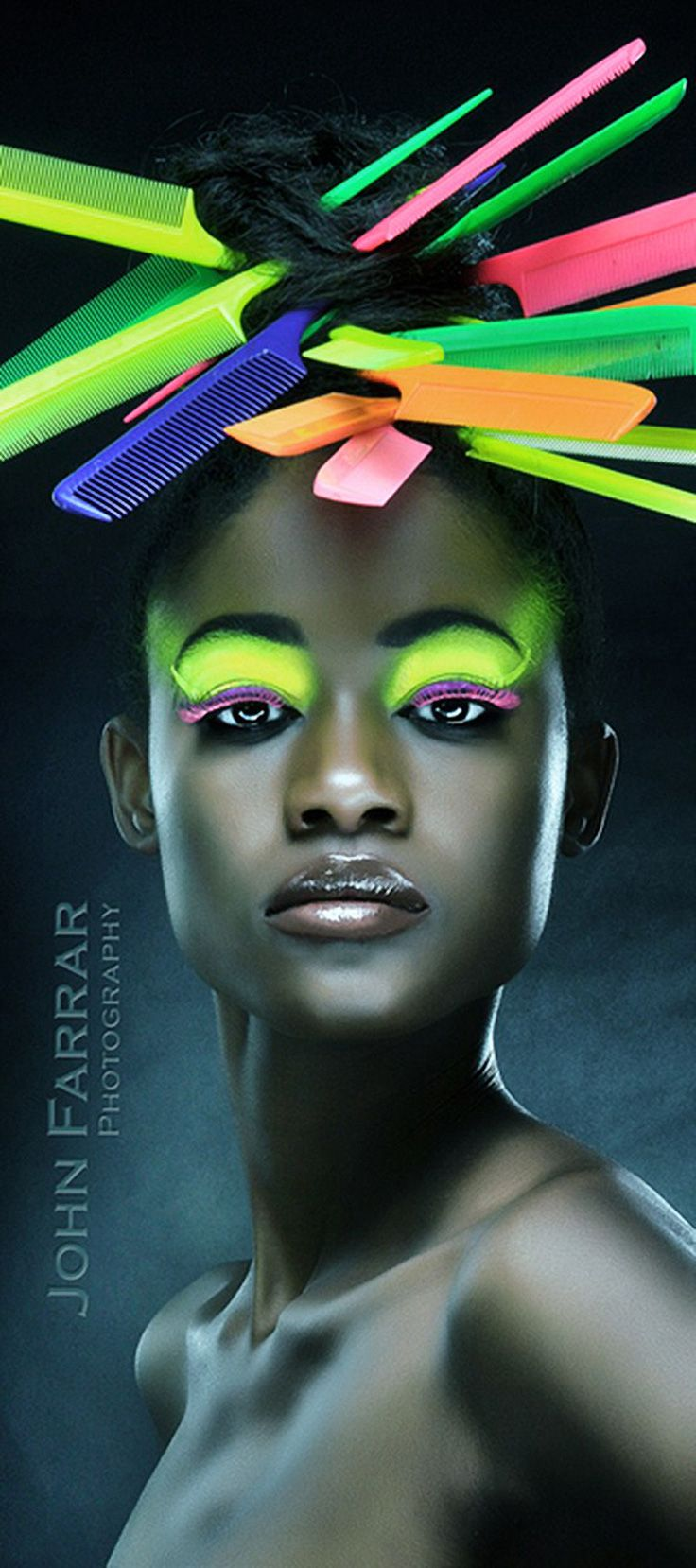 Ground-Breaking Concept of Fashion Photography By John Farrar (neon combs).