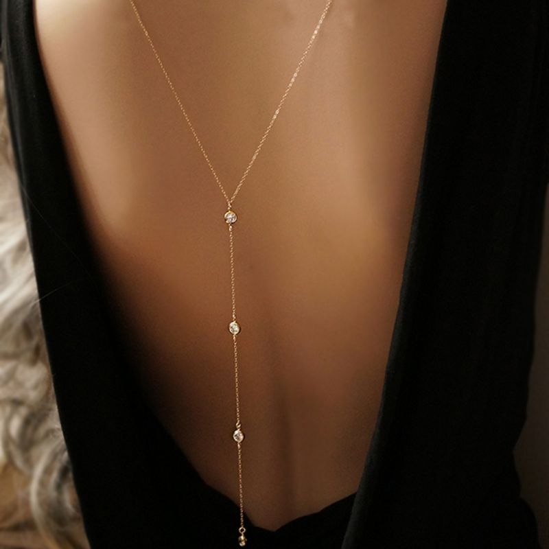 Backless dress with back necklace