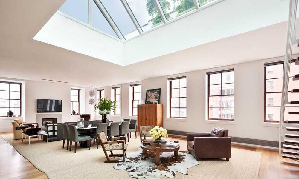best design of room under roof with stairs and set furniture living