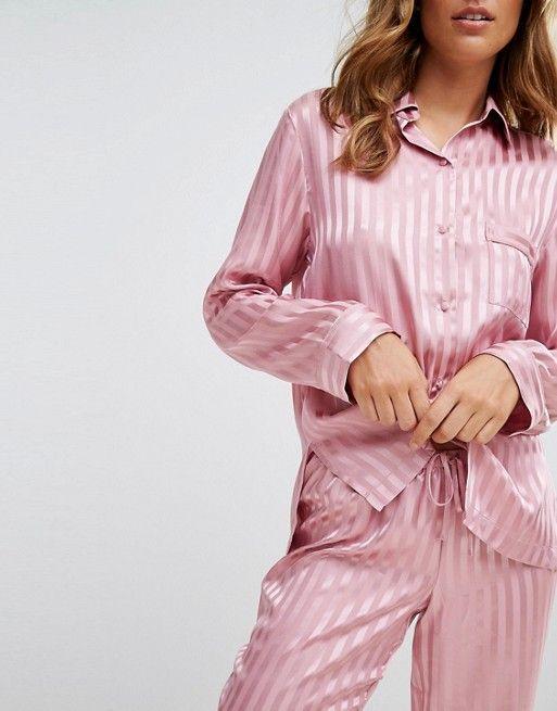 Boux Avenue Stripe Satin Long Pyjama Set  c4ebe0388