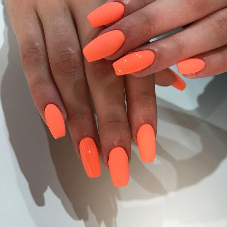 Neon Orange Nails Peach Acrylic Nails Neon Nails Nail Art