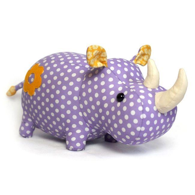 The Rhino Plush Animal Sewing Kit Is A Soft Toy Pattern Fabric Kit