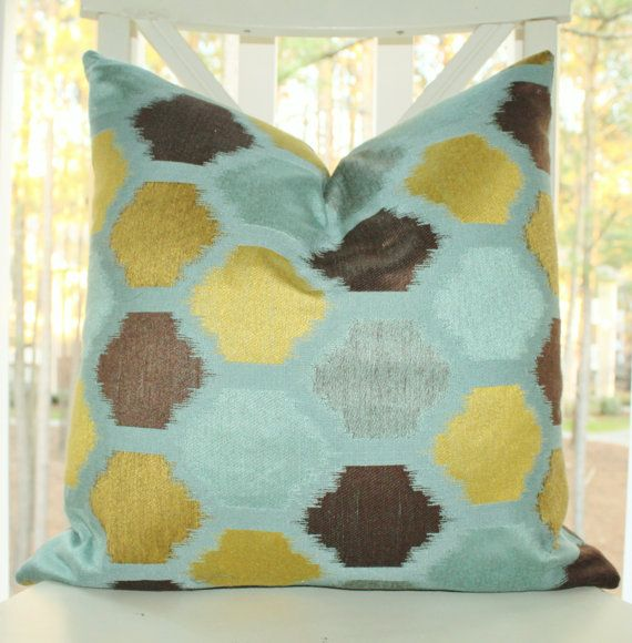 Decorative Turquoise Pillow Turquoise Blue Chartreuse Brown Ikat Inspiration Chartreuse Pillows Decorative