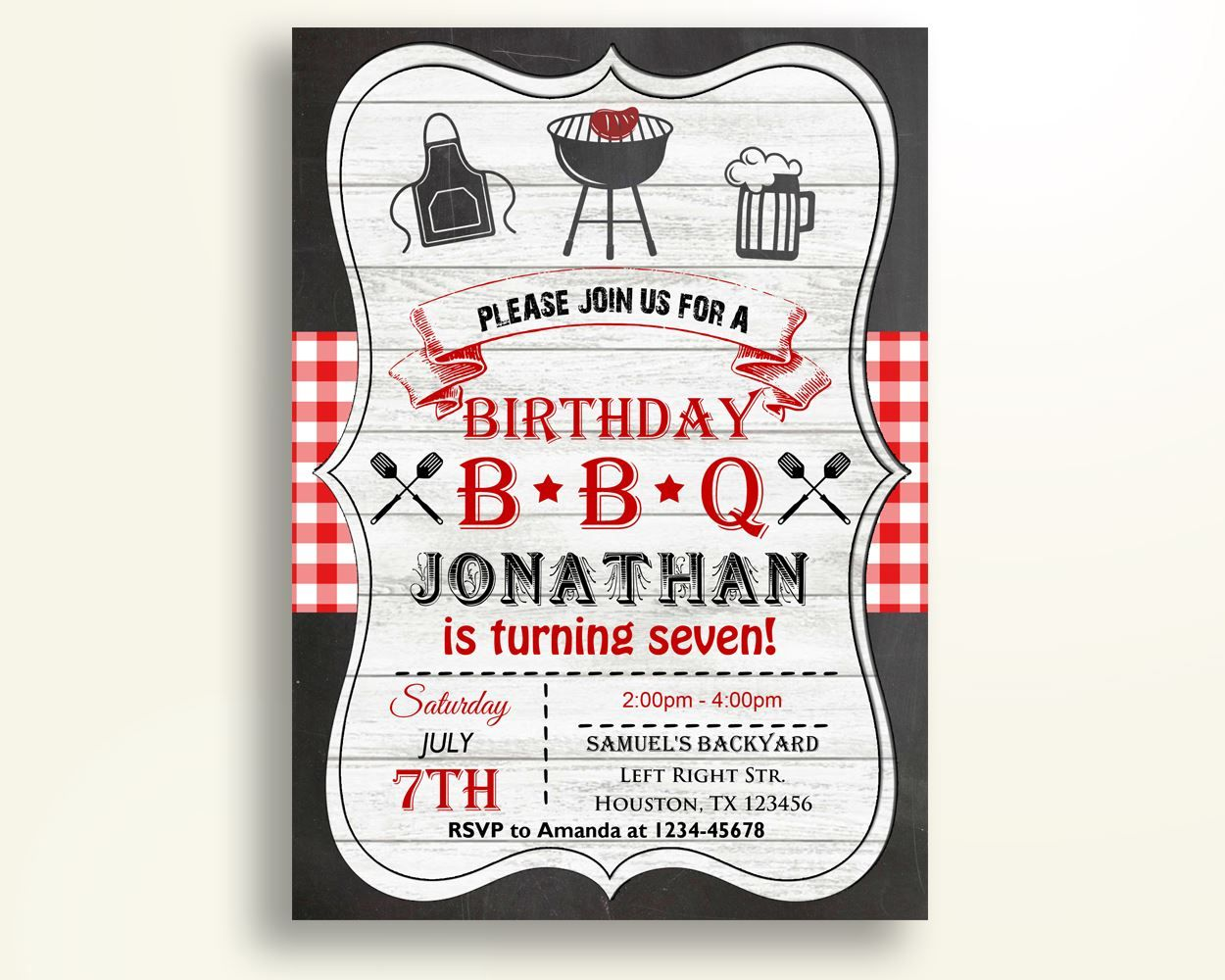Barbecue Birthday Invitation Chalkboard Birthday Party Invitation ...