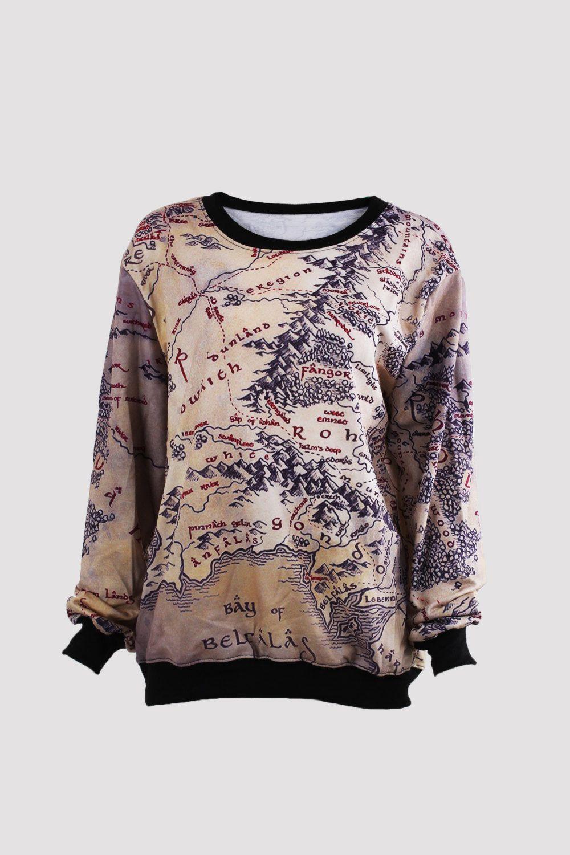 Middle earth map sweatshirt Long sleeve tshirt world map ...